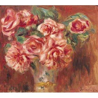 - Cuadro -Rosas en un jarrón- - Renoir, Pierre Auguste
