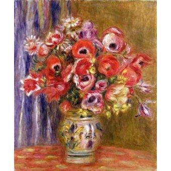 - Cuadro -Jarrón de tulipanes y anémonas- - Renoir, Pierre Auguste