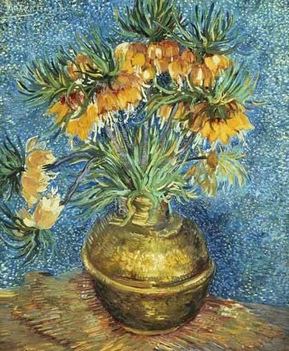cuadros-de-flores - Cuadro -Corona Imperial de Fritilárias en jarrón de cobre- - Van Gogh, Vincent