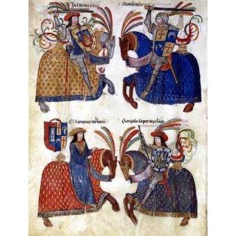 cuadros de mapas, grabados y acuarelas - Cuadro -Libro de los caballeros de Santiago-3- - _Anónimo Español