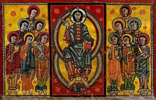 cuadros-de-mapas-grabados-y-acuarelas - Cuadro -Pantocrator y Apóstoles- - _Anónimo Español