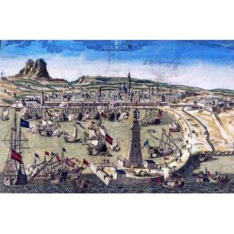 cuadros de mapas, grabados y acuarelas - Cuadro -Barcelona, vista de la ciudad y el puerto- Mapas - Mapas antiguos - Anciennes cartes