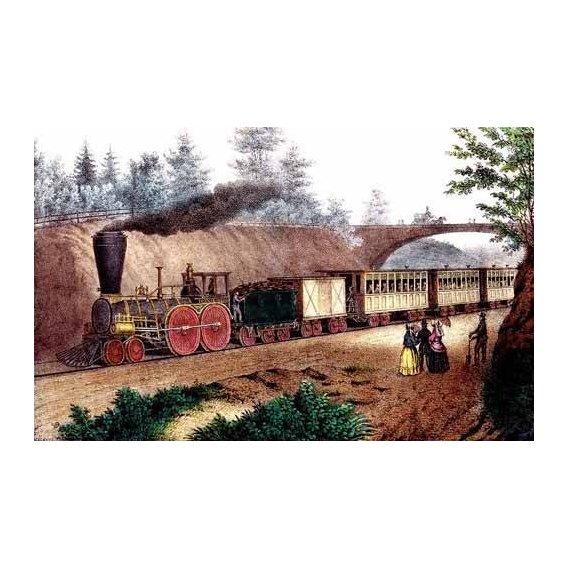 cuadros de mapas, grabados y acuarelas - Cuadro -El tren expresso-