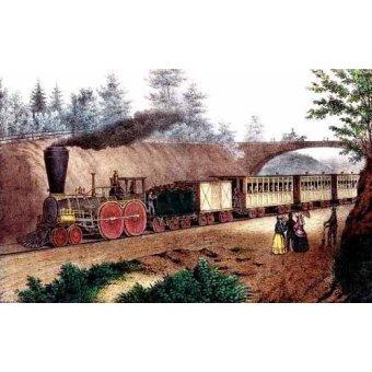 cuadros de mapas, grabados y acuarelas - Cuadro -El tren expresso- - Currier Nathaniel y Ives James