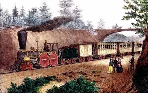 cuadros-de-mapas-grabados-y-acuarelas - Cuadro -El tren expresso- - Currier Nathaniel y Ives James