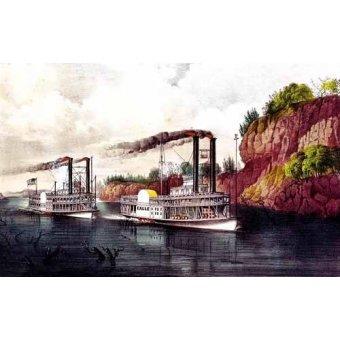 - Cuadro -Carrera de barcos de vapor en el Mississipi- - Currier Nathaniel y Ives James