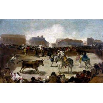 cuadros de mapas, grabados y acuarelas - Cuadro -Toros en un pueblo- - Goya y Lucientes, Francisco de