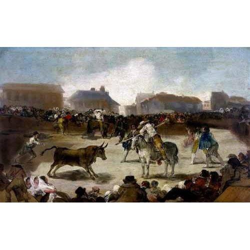 Cuadro -Toros en un pueblo-