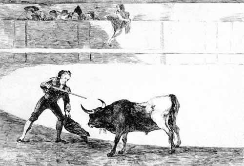 cuadros-de-mapas-grabados-y-acuarelas - Cuadro -Tauromaquia num.30: Pedro Romero matando a toro parado- - Goya y Lucientes, Francisco de