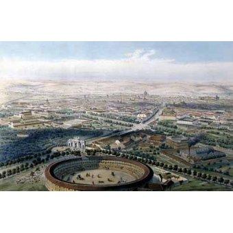 cuadros de mapas, grabados y acuarelas - Cuadro -Madrid vista aérea con la plaza de toros, 1854- - Guesdon, Alfred