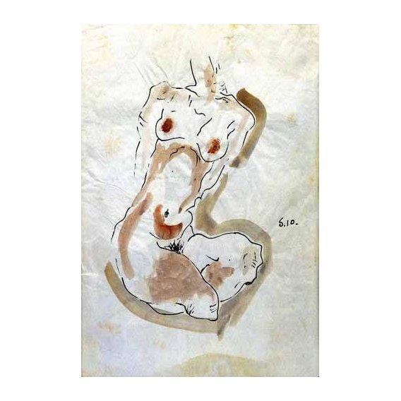 cuadros de mapas, grabados y acuarelas - Cuadro -Desnudo Femenino -