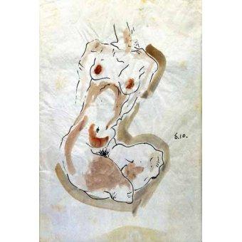 cuadros de mapas, grabados y acuarelas - Cuadro -Desnudo Femenino - - Schiele, Egon