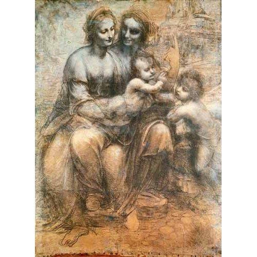 cuadros de mapas, grabados y acuarelas - Cuadro -La Virgen, el Niño y Santa Ana-