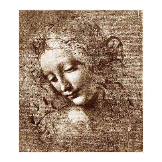 cuadros de mapas, grabados y acuarelas - Cuadro -Cabeza de dama-
