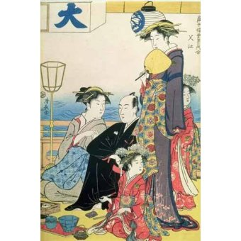 cuadros etnicos y oriente - Cuadro -Women of the Gay Quarters (right hand panel of diptych)- - Kiyonaga, Torii