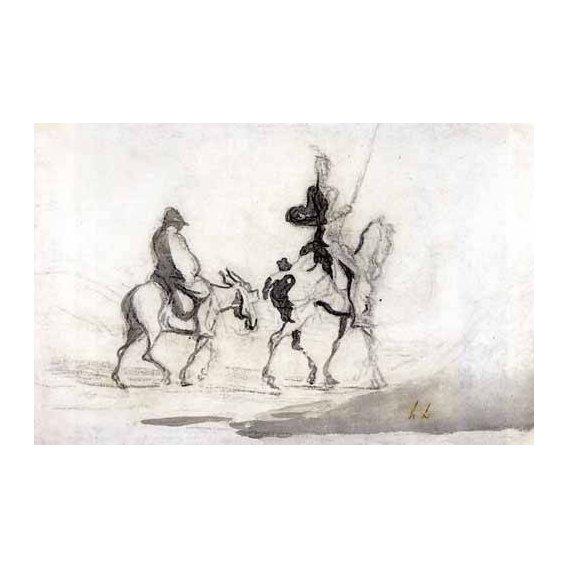 cuadros de mapas, grabados y acuarelas - Cuadro -Don Quixote and Sancho Panza, 1850-