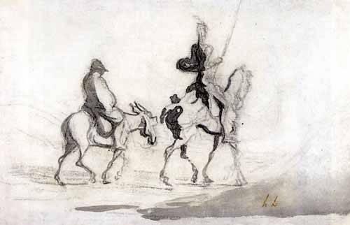 cuadros-de-mapas-grabados-y-acuarelas - Cuadro -Don Quixote and Sancho Panza, 1850- - Daumier, Honoré