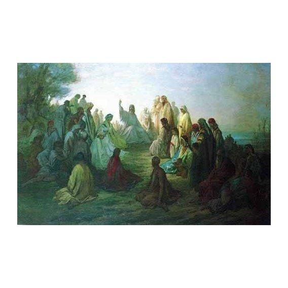 cuadros de mapas, grabados y acuarelas - Cuadro -Jesús predicando en la montaña-