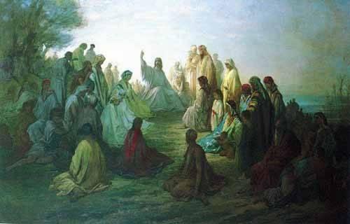cuadros-de-mapas-grabados-y-acuarelas - Cuadro -Jesús predicando en la montaña- - Doré, Gustave