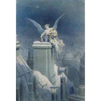 cuadros de mapas, grabados y acuarelas - Cuadro -Angel repartiendo regalos- - Doré, Gustave