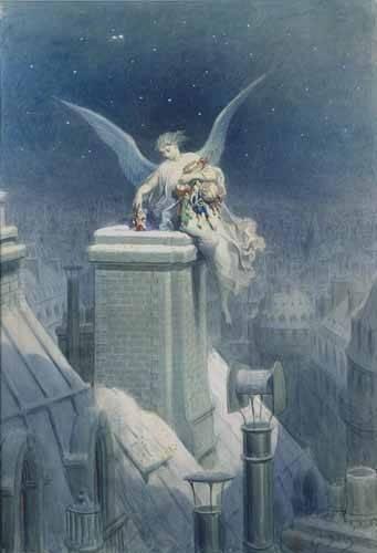 cuadros-de-mapas-grabados-y-acuarelas - Cuadro -Angel repartiendo regalos- - Doré, Gustave