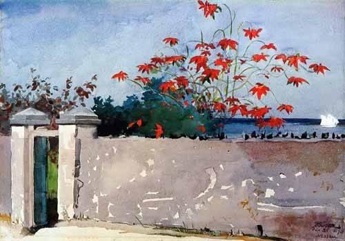 cuadros-de-mapas-grabados-y-acuarelas - Cuadro -Un Muro, Nassau- - Homer, Winslow