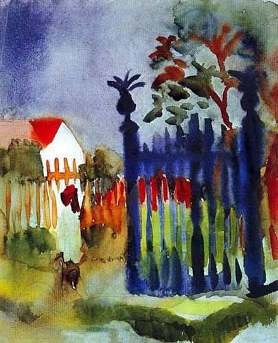 cuadros-de-mapas-grabados-y-acuarelas - Cuadro -La puerta del jardín- - Macke, August