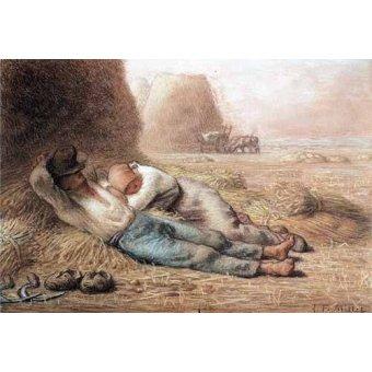 cuadros de mapas, grabados y acuarelas - Cuadro -La méridienne Pastel et crayon noir, 1866 - - Millet, Jean François