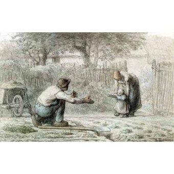 cuadros de mapas, grabados y acuarelas - Cuadro -Los primeros pasos, 1859- - Millet, Jean François