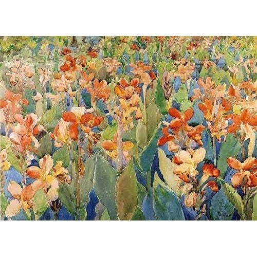 cuadros de mapas, grabados y acuarelas - Cuadro -Cama de flores-