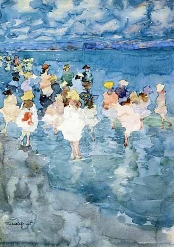 cuadros-de-mapas-grabados-y-acuarelas - Cuadro -Niños en la playa- - Prendergast, Maurice