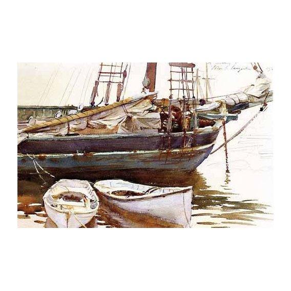 cuadros de mapas, grabados y acuarelas - Cuadro -Barco-