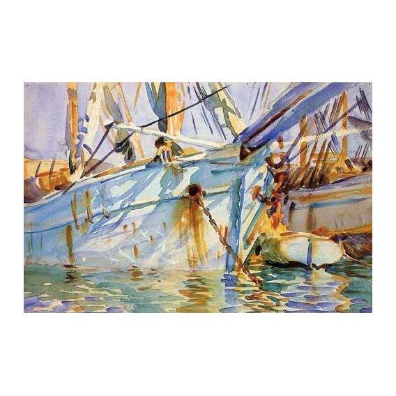 cuadros de mapas, grabados y acuarelas - Cuadro -En un puerto Levantino-