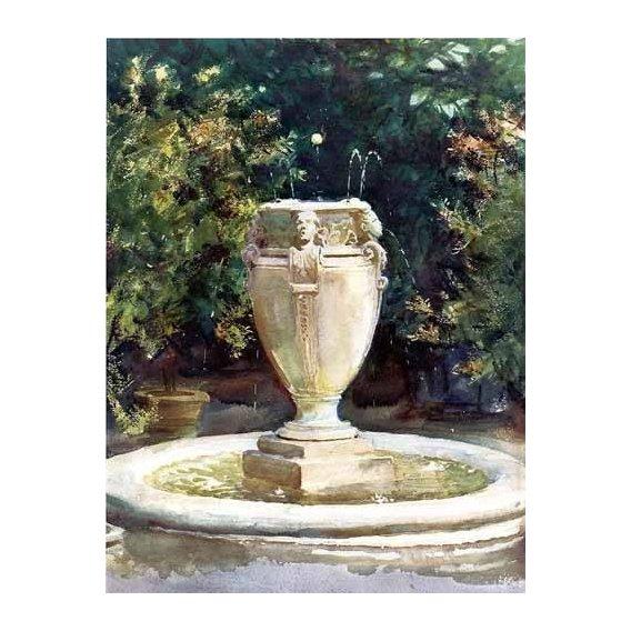 cuadros de mapas, grabados y acuarelas - Cuadro -Vase Fountain Pocantico-