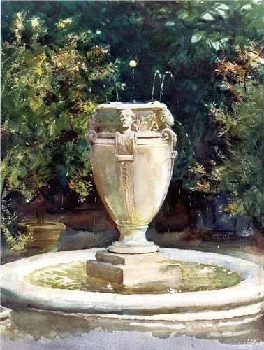 cuadros-de-mapas-grabados-y-acuarelas - Cuadro -Vase Fountain Pocantico- - Sargent, John Singer