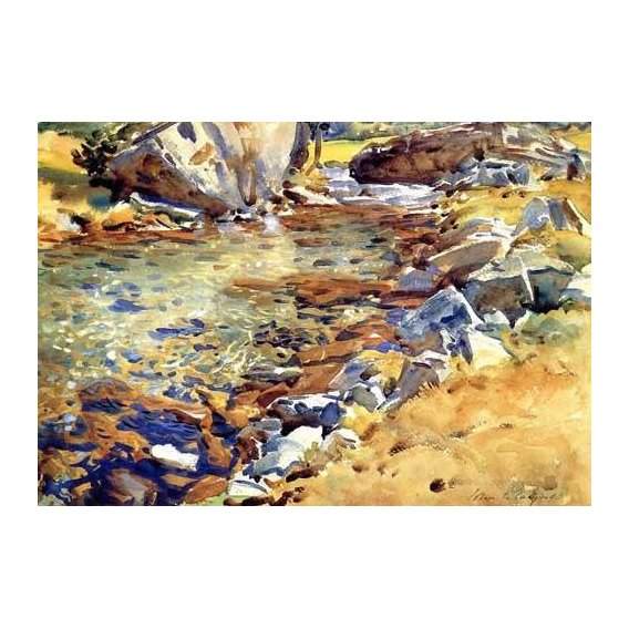cuadros de mapas, grabados y acuarelas - Cuadro -Brook among Rocks-