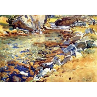 - Cuadro -Brook among Rocks- - Sargent, John Singer