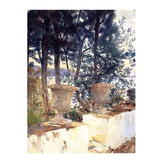 cuadros de mapas, grabados y acuarelas - Cuadro -Una terraza en Corfu-
