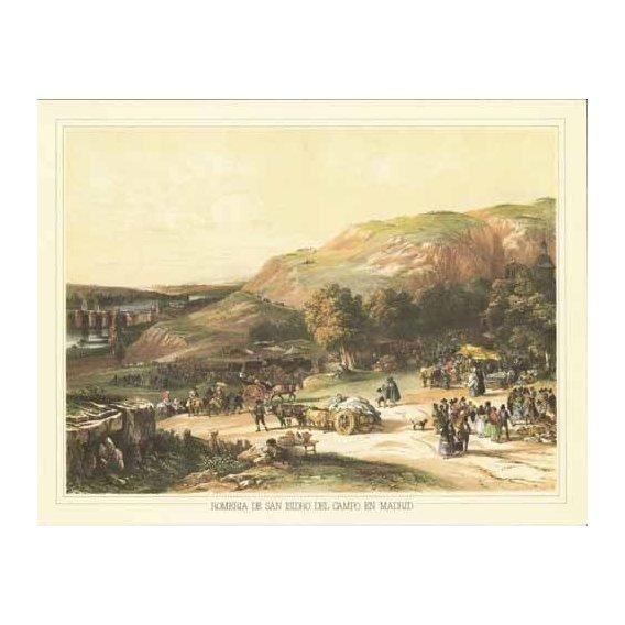cuadros de mapas, grabados y acuarelas - Cuadro -Romería de San Isidro del Campo en Madrid-