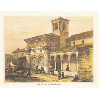cuadros de mapas, grabados y acuarelas - Cuadro -San Miguel de Guadalajara- - Villaamil, Jenaro Perez de