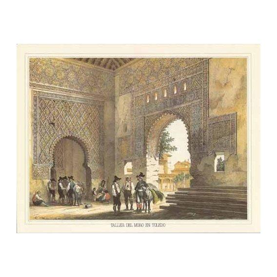 cuadros de mapas, grabados y acuarelas - Cuadro -Taller del moro en Toledo-