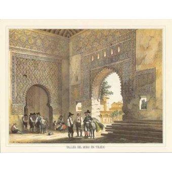 cuadros de mapas, grabados y acuarelas - Cuadro -Taller del moro en Toledo- - Villaamil, Jenaro Perez de