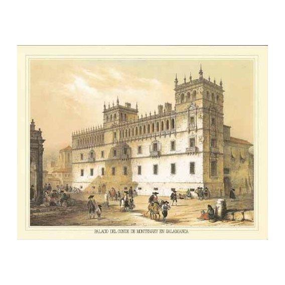 cuadros de mapas, grabados y acuarelas - Cuadro -Palacio del Conde de Monterrey en Salamanca-