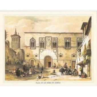 cuadros de mapas, grabados y acuarelas - Cuadro -Plaza de los Momos en Zamora- - Villaamil, Jenaro Perez de