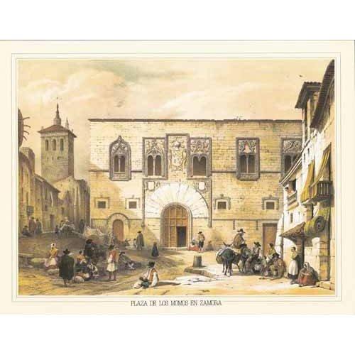 cuadros de mapas, grabados y acuarelas - Cuadro -Plaza de los Momos en Zamora-