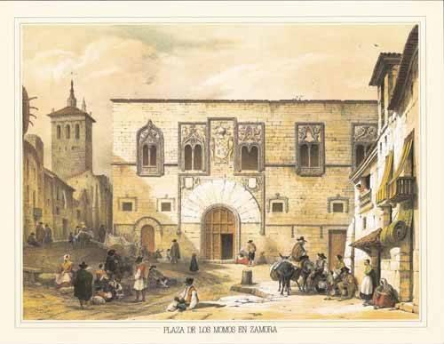 cuadros-de-mapas-grabados-y-acuarelas - Cuadro -Plaza de los Momos en Zamora- - Villaamil, Jenaro Perez de