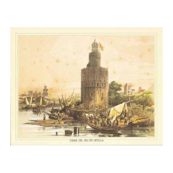 cuadros de mapas, grabados y acuarelas - Cuadro -Torre del Oro en Sevilla-