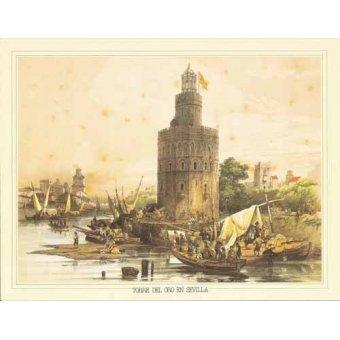 Cuadro -Torre del Oro en Sevilla-