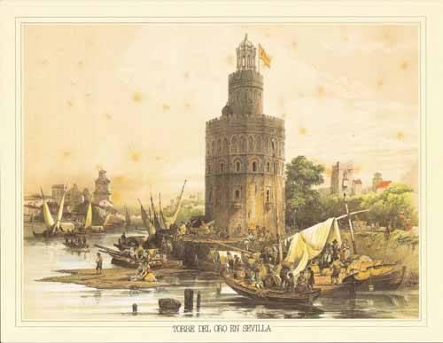 cuadros-de-mapas-grabados-y-acuarelas - Cuadro -Torre del Oro en Sevilla- - Villaamil, Jenaro Perez de