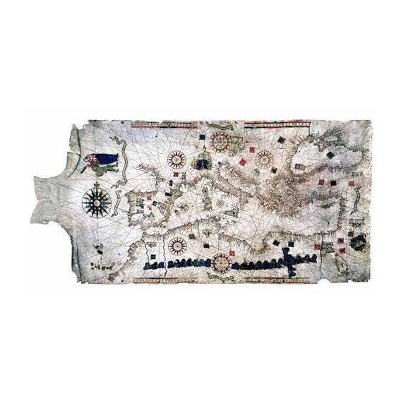 cuadros de mapas, grabados y acuarelas - Cuadro -Mapa del Mediterráneo- sobre piel de carnero- MAPAS